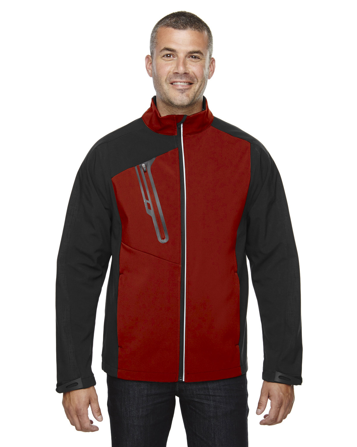 North End Men's Terrain Colorblock Soft Shell with Embossed Print CLASSIC RED