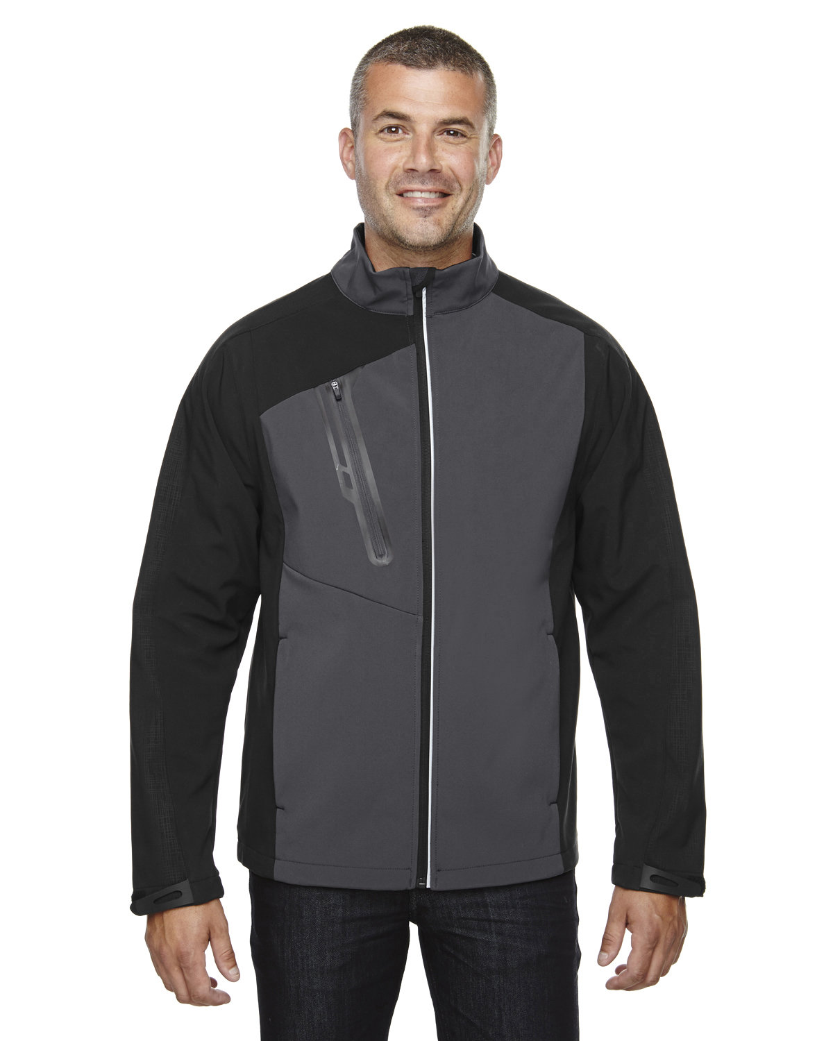 North End Men's Terrain Colorblock Soft Shell with Embossed Print BLACK SILK
