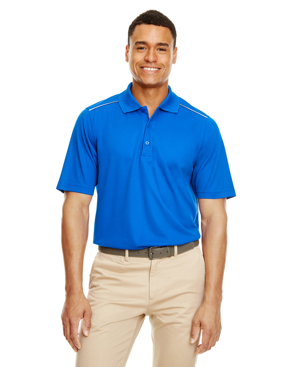 Core 365 Men's Radiant Performance Piqué Polo withReflective Piping TRUE ROYAL