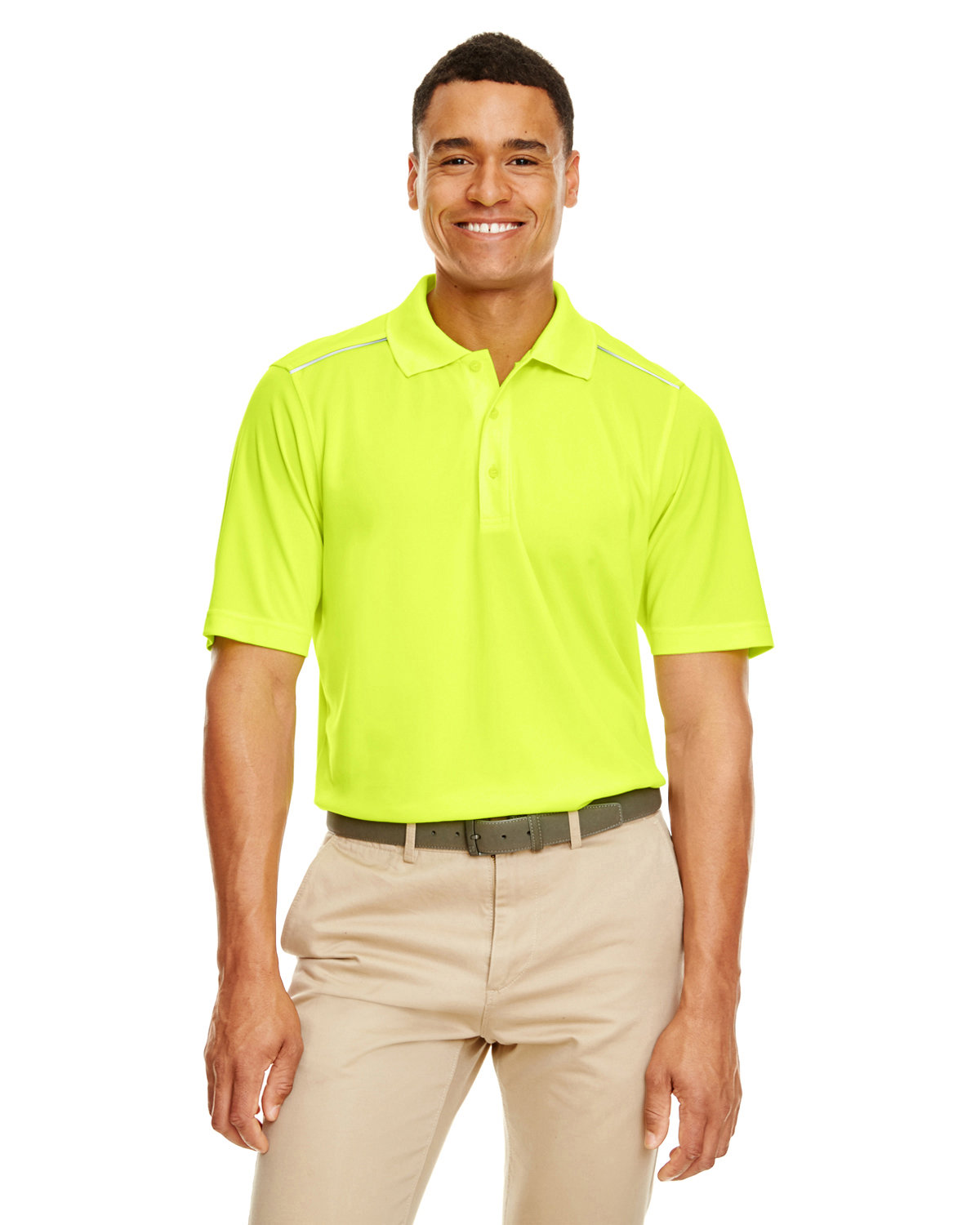 Core 365 Men's Radiant Performance Piqué Polo withReflective Piping SAFETY YELLOW