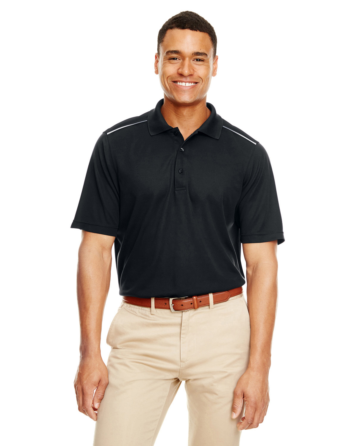 Core 365 Men's Radiant Performance Piqué Polo withReflective Piping BLACK