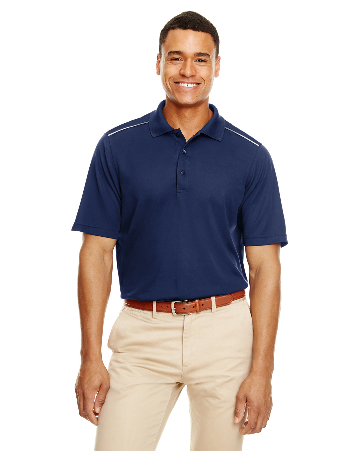 Core 365 Men's Radiant Performance Piqué Polo withReflective Piping CLASSIC NAVY