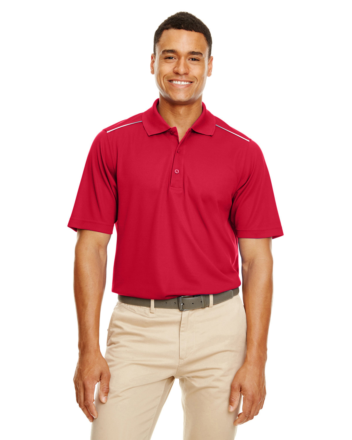 Core 365 Men's Radiant Performance Piqué Polo withReflective Piping CLASSIC RED