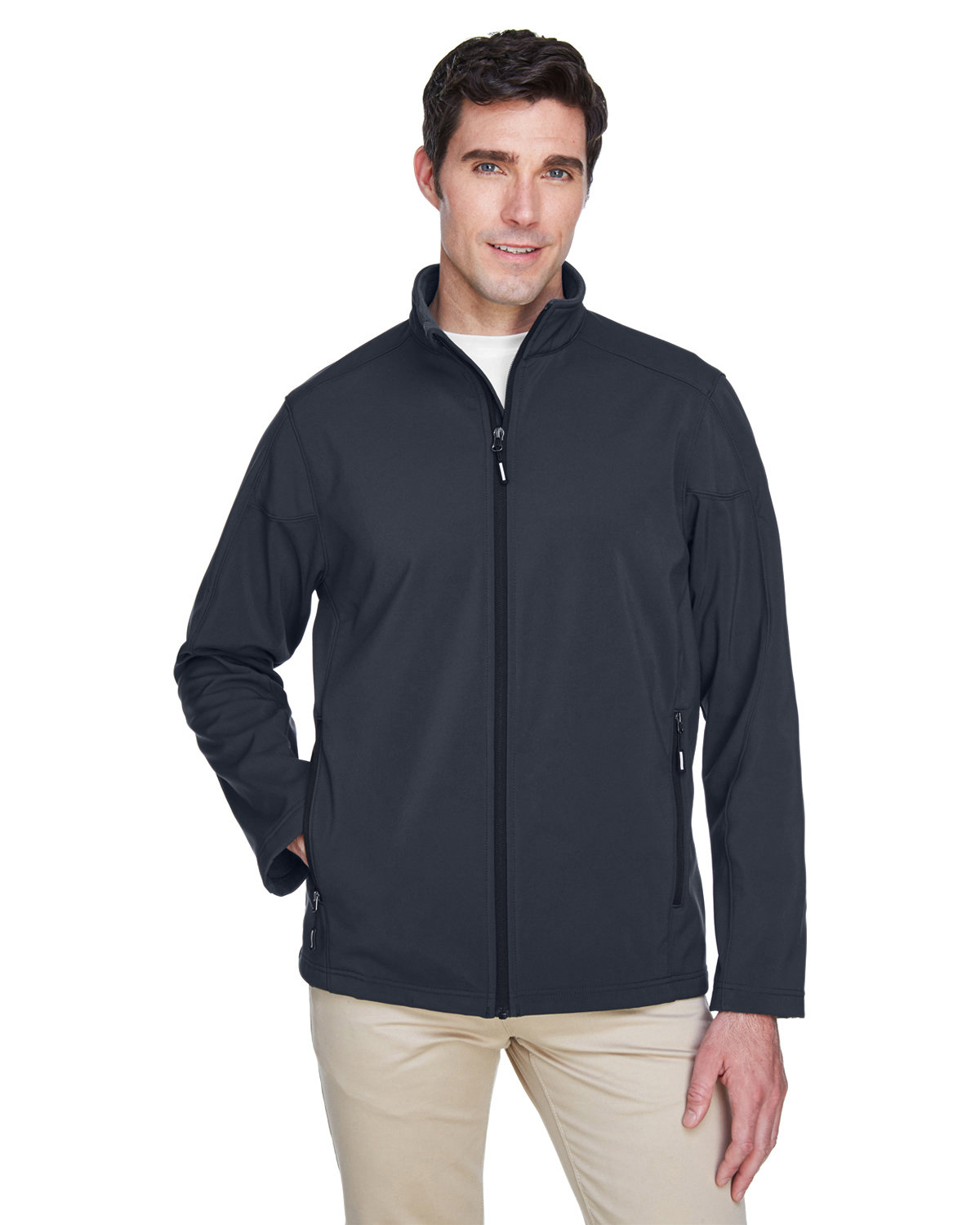 Core 365 Men's Cruise Two-Layer Fleece Bonded SoftShell Jacket CARBON
