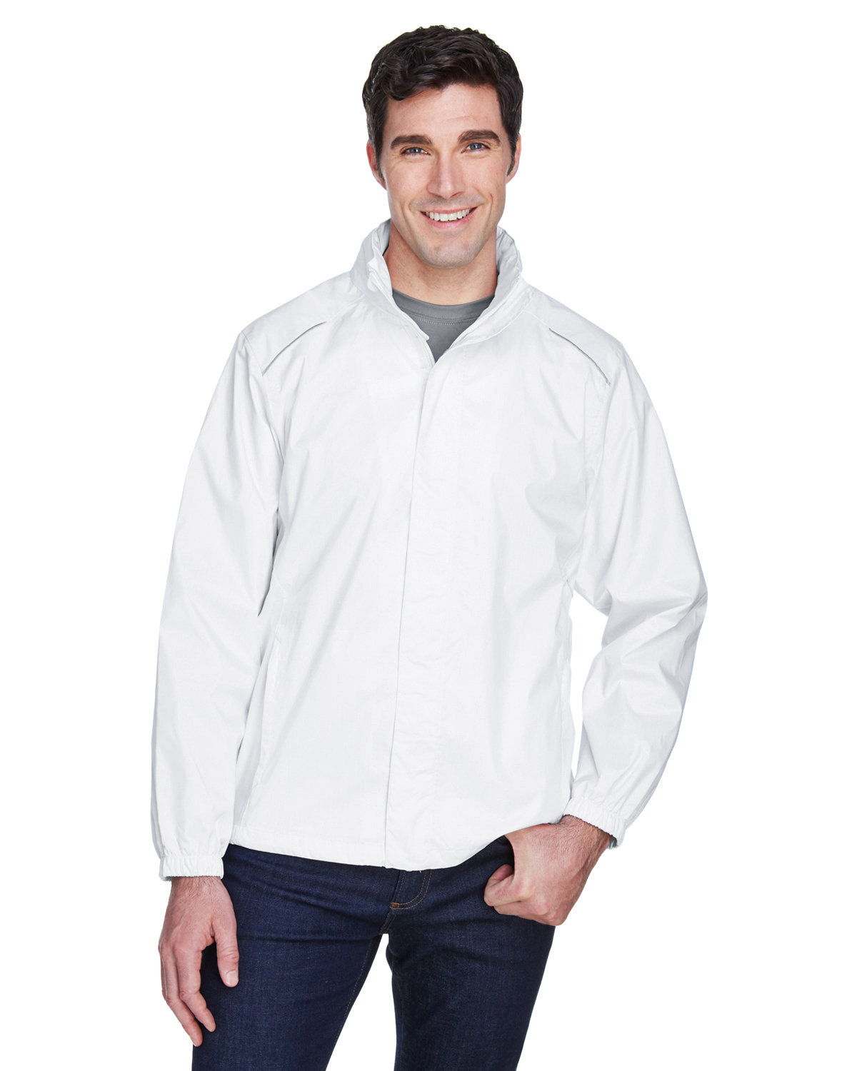 Core 365 Men's Climate Seam-Sealed Lightweight Variegated Ripstop Jacket WHITE