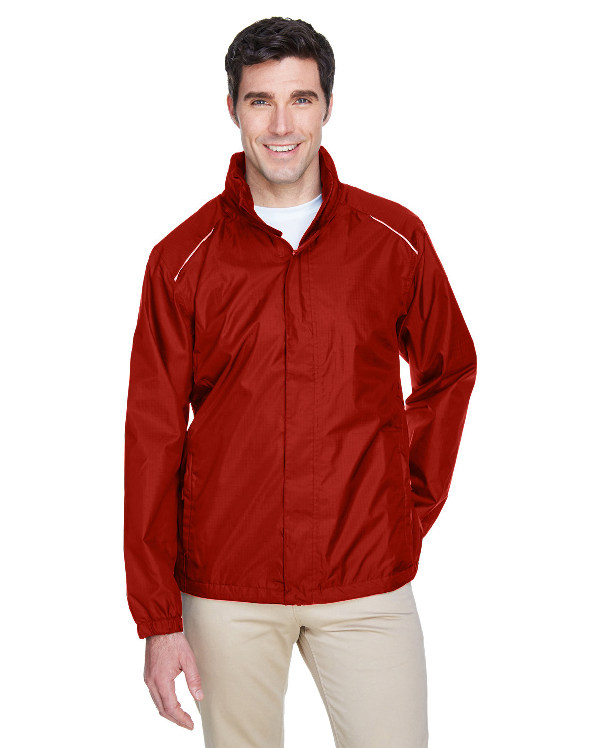 Core 365 Men's Climate Seam-Sealed Lightweight Variegated Ripstop Jacket CLASSIC RED