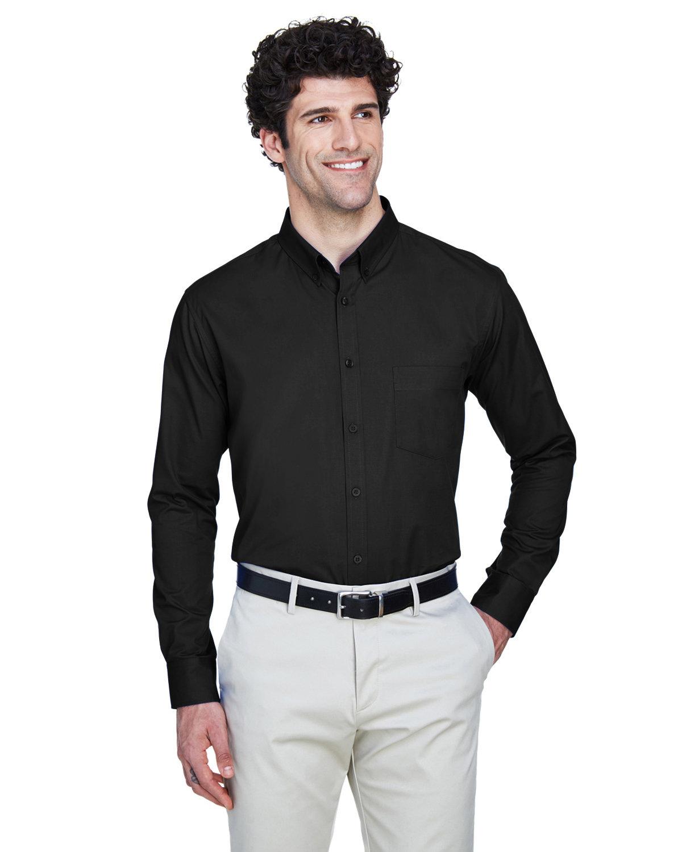 Core 365 Men's Operate Long-Sleeve TwillShirt BLACK