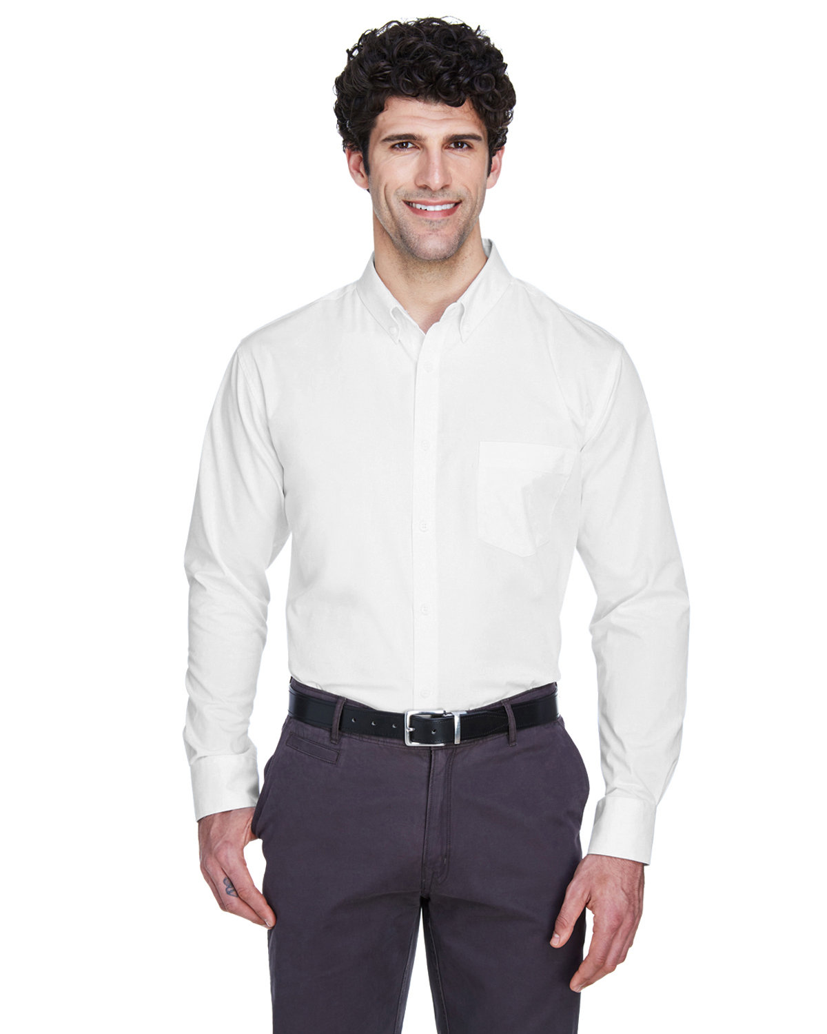 Core 365 Men's Tall Operate Long-Sleeve Twill Shirt WHITE