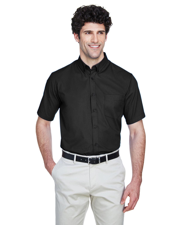 Core 365 Men's Optimum Short-Sleeve Twill Shirt BLACK