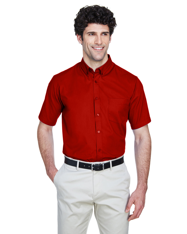 Core 365 Men's Optimum Short-Sleeve Twill Shirt CLASSIC RED