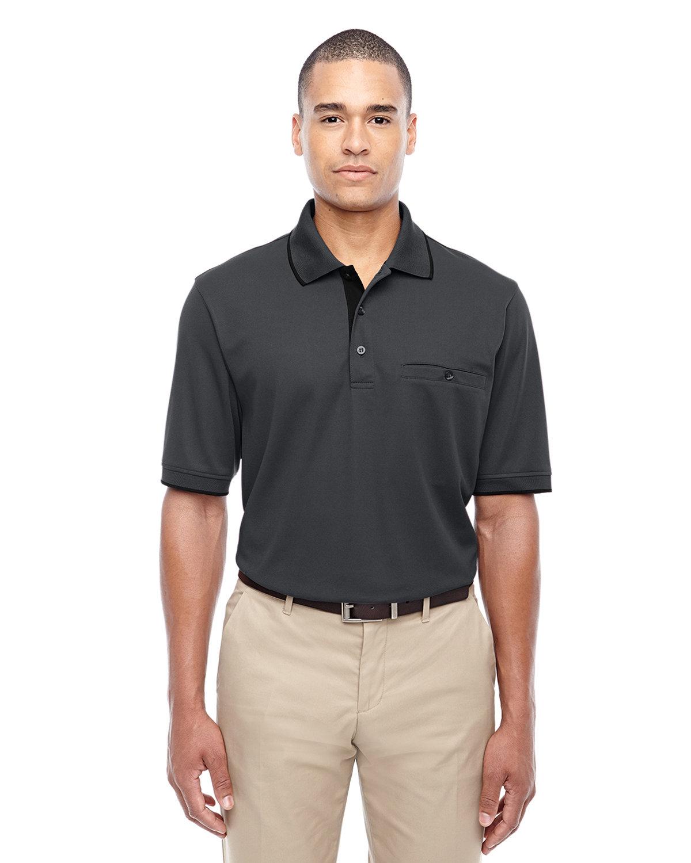 Core 365 Men's Motive Performance Piqué Polo with Tipped Collar CARBON/ BLACK