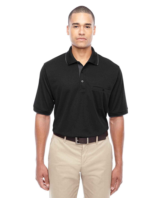 Core 365 Men's Motive Performance Piqué Polo with Tipped Collar BLACK/ CARBON