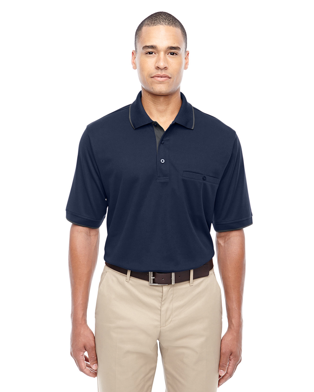 Core 365 Men's Motive Performance Piqué Polo with Tipped Collar CLASSC NVY/ CRBN