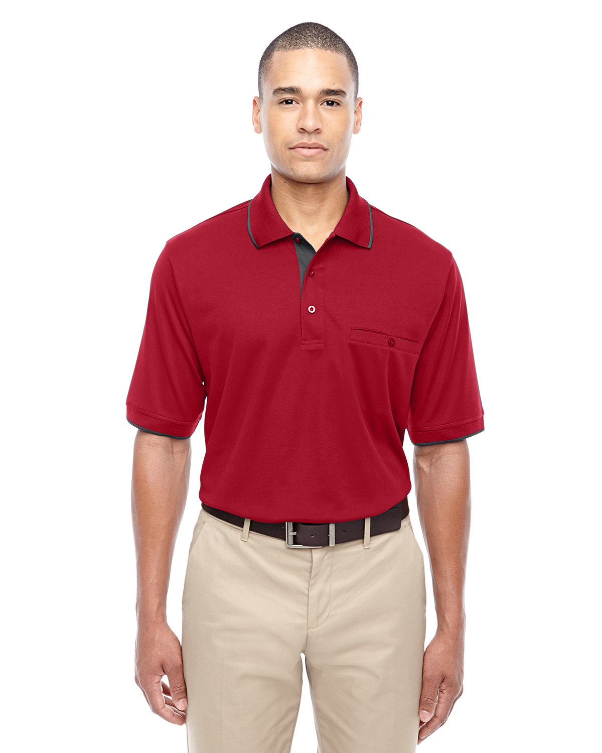 Core 365 Men's Motive Performance Piqué Polo with Tipped Collar CLASSC RED/ CRBN