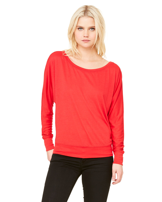 Bella + Canvas Ladies' Flowy Long-Sleeve Off Shoulder T-Shirt RED