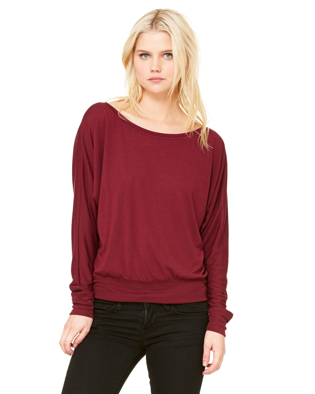 Bella + Canvas Ladies' Flowy Long-Sleeve Off Shoulder T-Shirt MAROON