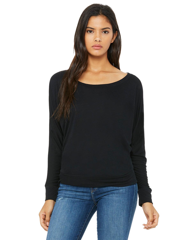 Bella + Canvas Ladies' Flowy Long-Sleeve Off Shoulder T-Shirt BLACK