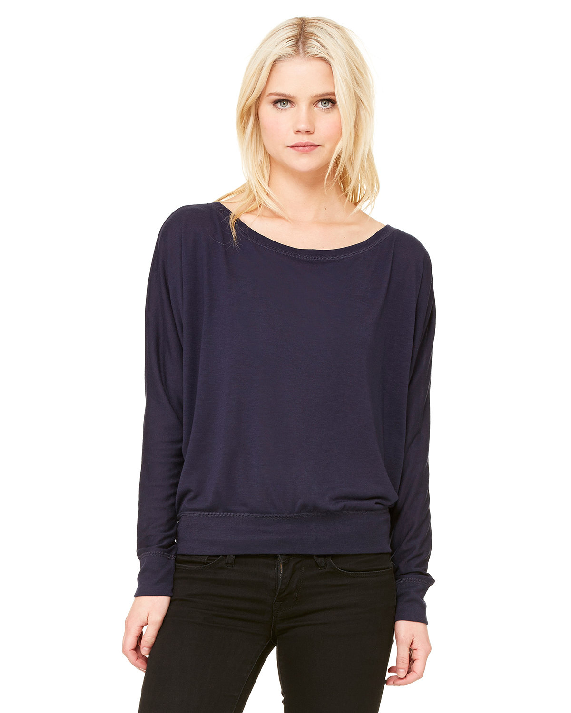 Bella + Canvas Ladies' Flowy Long-Sleeve Off Shoulder T-Shirt MIDNIGHT
