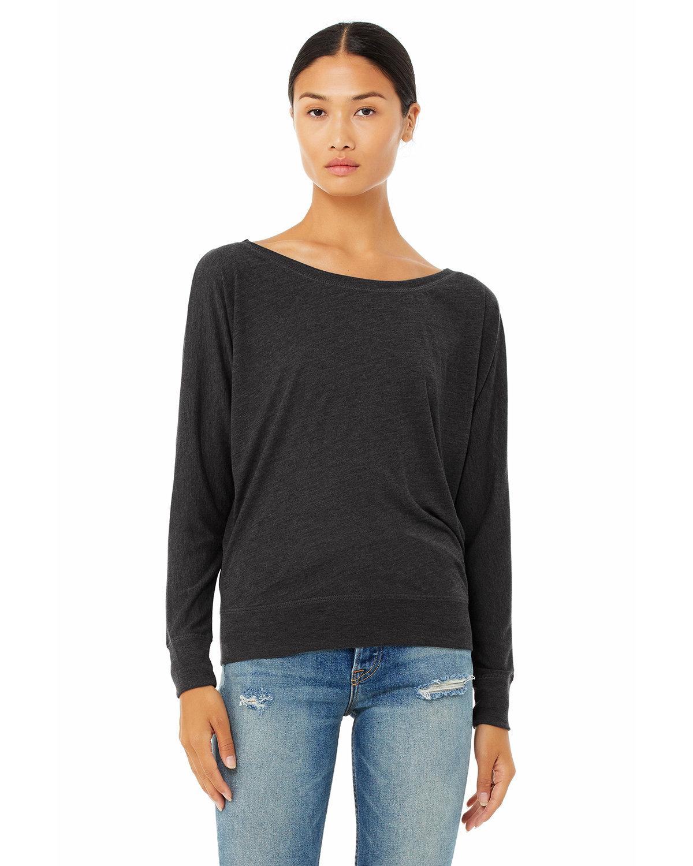 Bella + Canvas Ladies' Flowy Long-Sleeve Off Shoulder T-Shirt DK GREY HEATHER