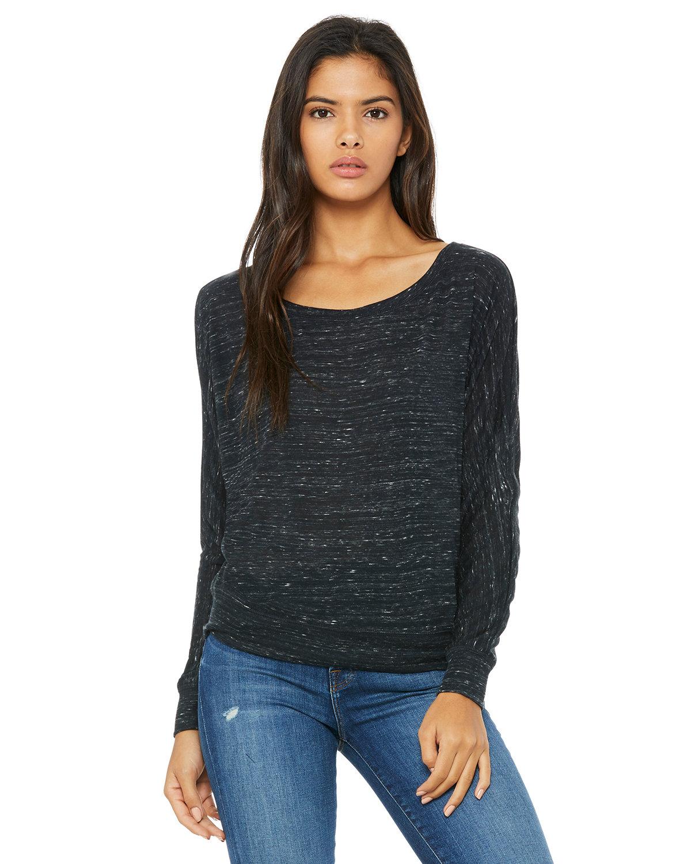 Bella + Canvas Ladies' Flowy Long-Sleeve Off Shoulder T-Shirt BLACK MARBLE