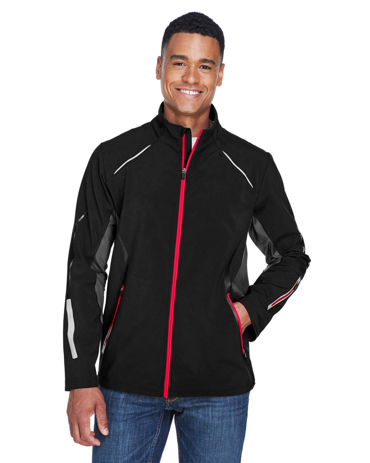 North End Men's Pursuit Three-Layer Light Bonded Hybrid Soft Shell Jacket with Laser Perforation BLACK/ OLYM RED