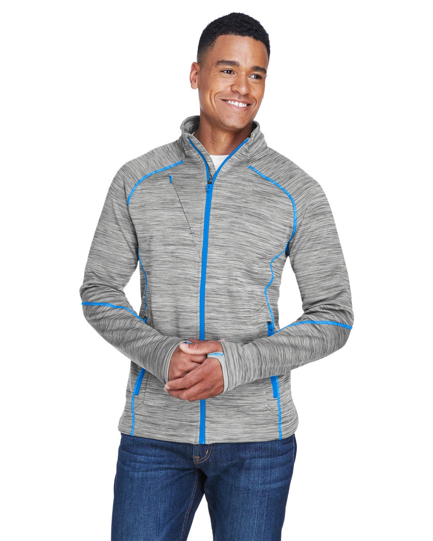 North End Men's Flux Mélange Bonded Fleece Jacket PLATNM/ OLY BLU