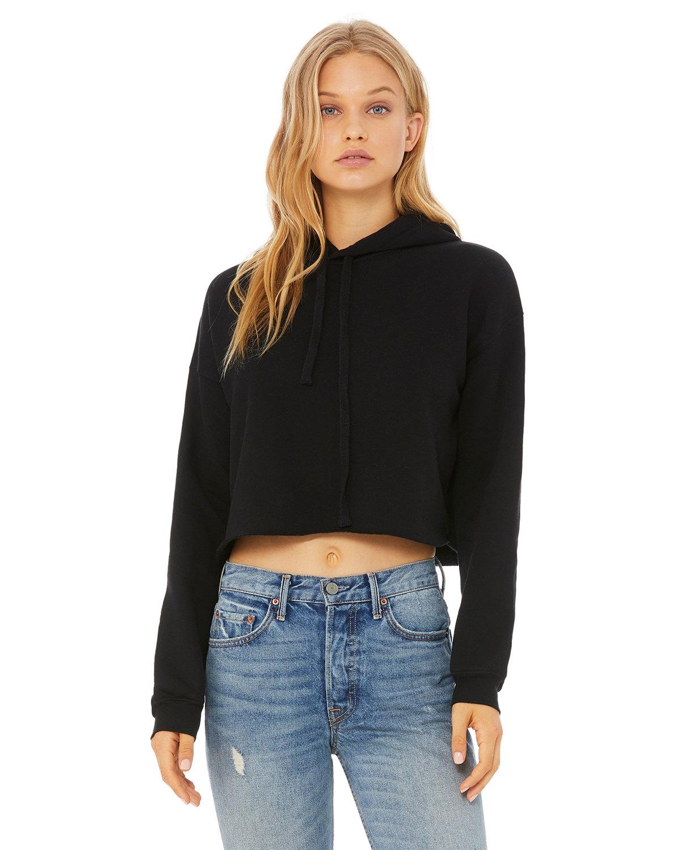 Bella + Canvas Ladies' Cropped Fleece Hoodie BLACK