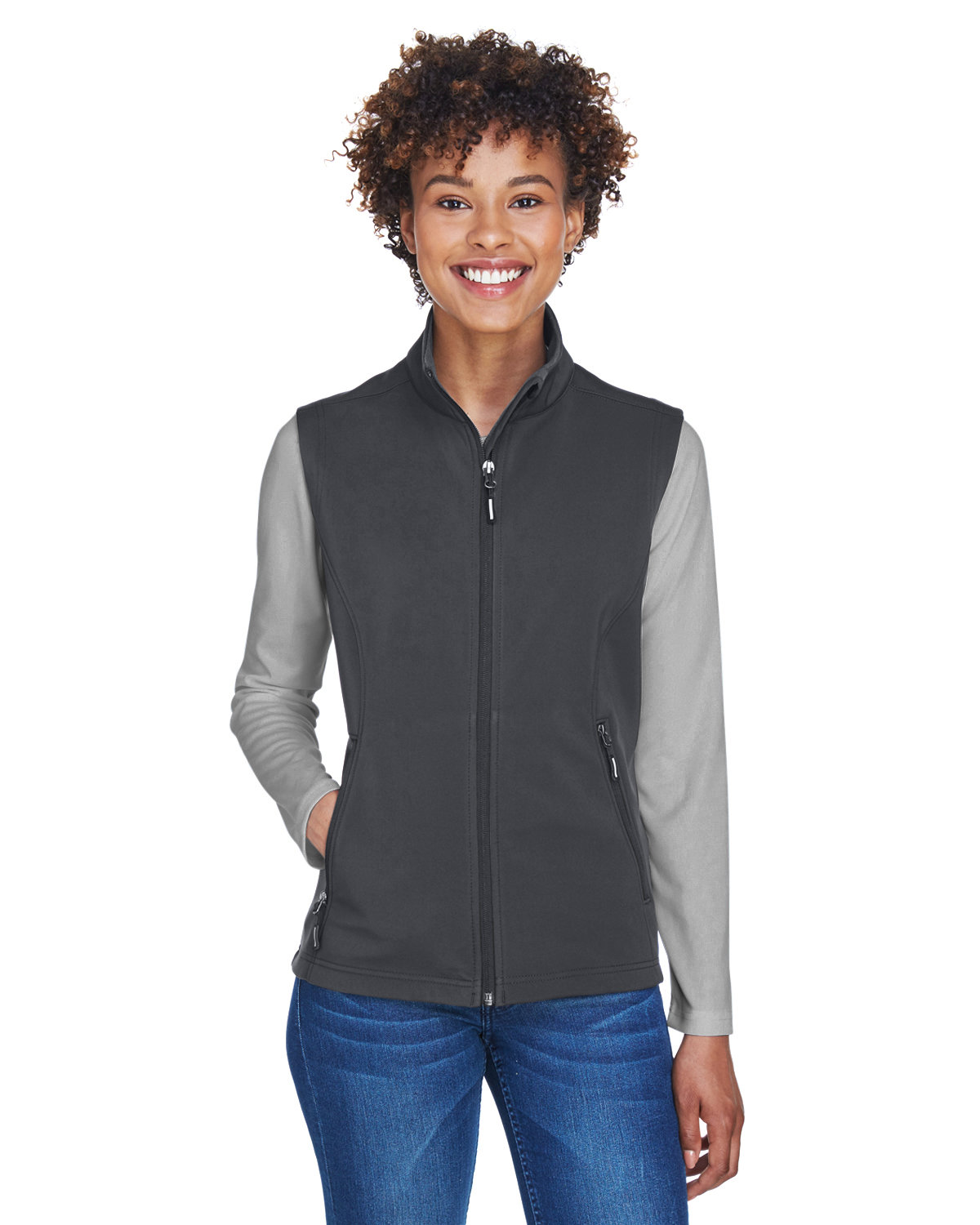 Core 365 Ladies' Cruise Two-Layer Fleece Bonded SoftShell Vest CARBON