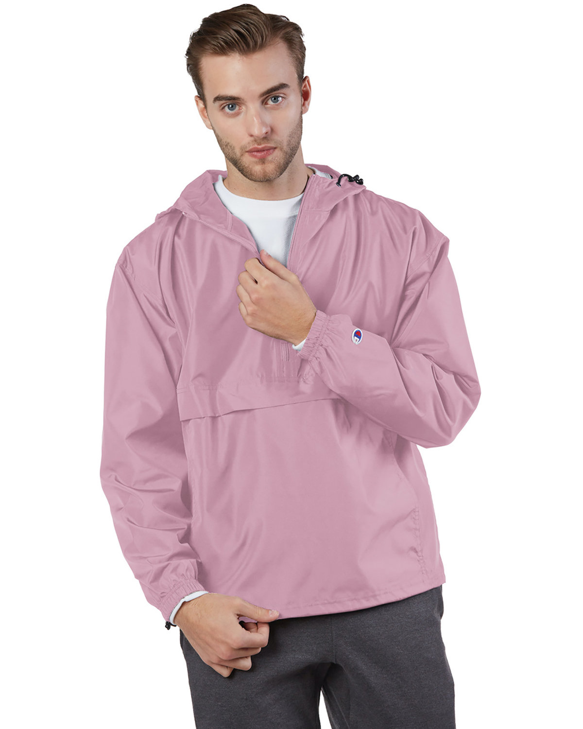 Champion Adult Packable Anorak 1/4 Zip Jacket PINK CANDY