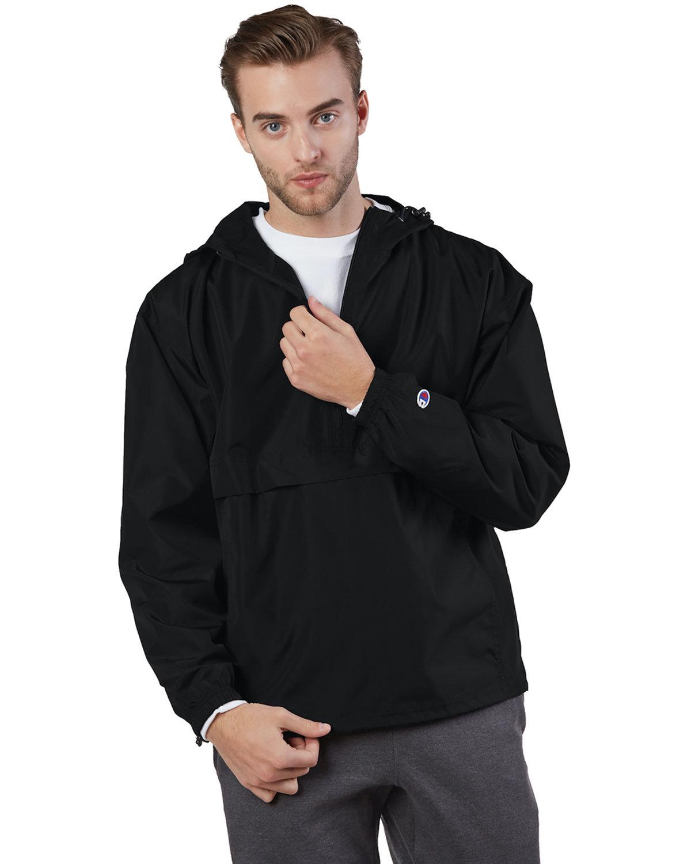 Champion Adult Packable Anorak 1/4 Zip Jacket BLACK
