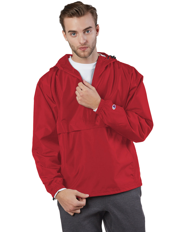 Champion Adult Packable Anorak 1/4 Zip Jacket SCARLET