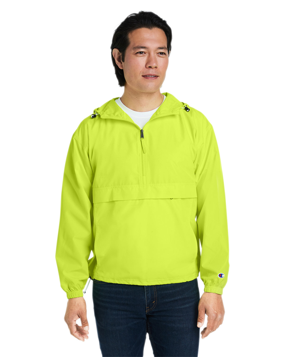 Champion Adult Packable Anorak 1/4 Zip Jacket SAFETY GREEN