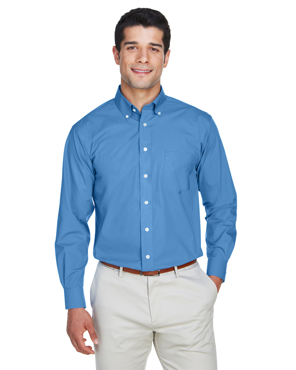 Devon & Jones Men's Crown Woven Collection® Solid Broadcloth FRENCH BLUE