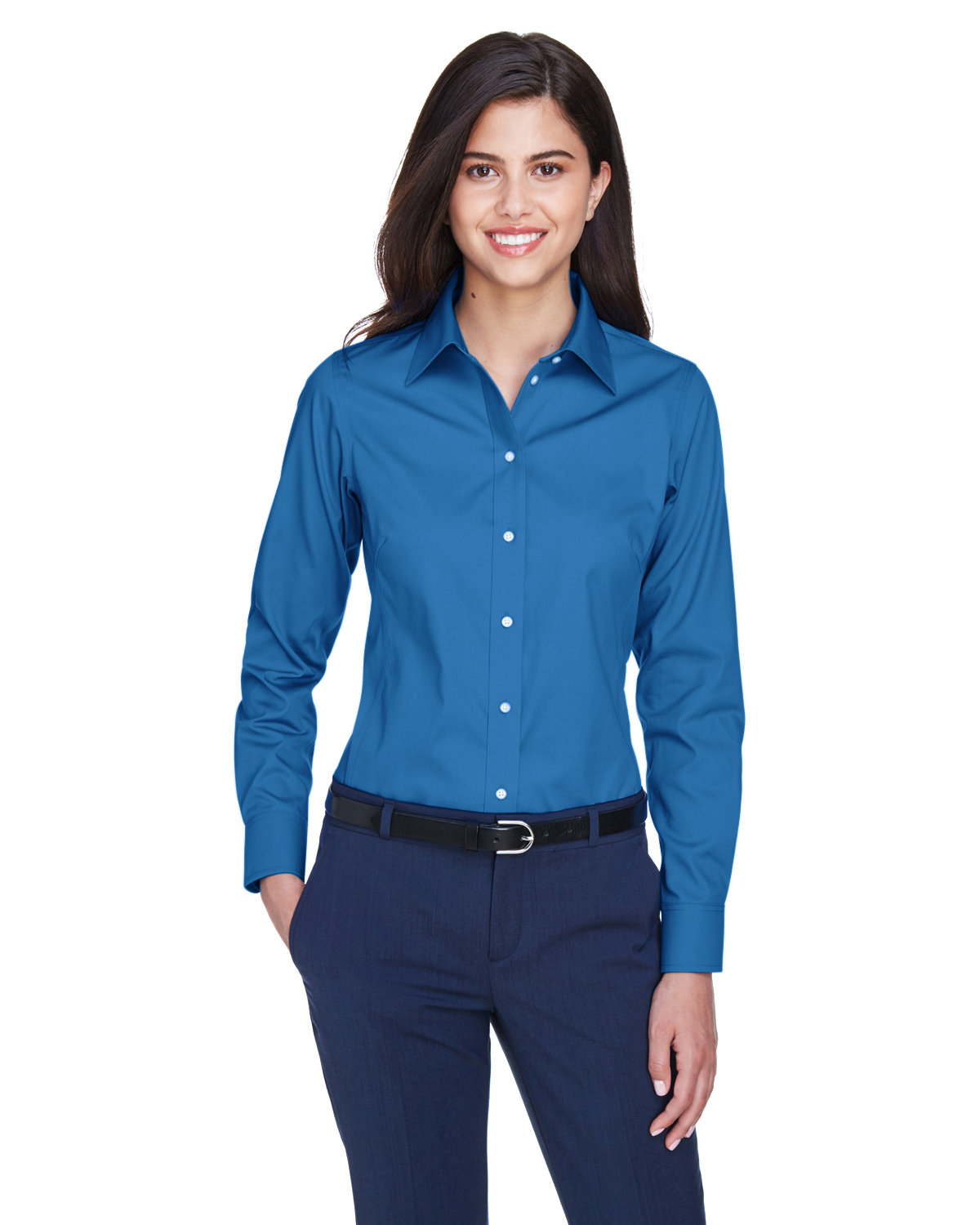 Devon & Jones Ladies' Crown Woven Collection® Solid Oxford FRENCH BLUE