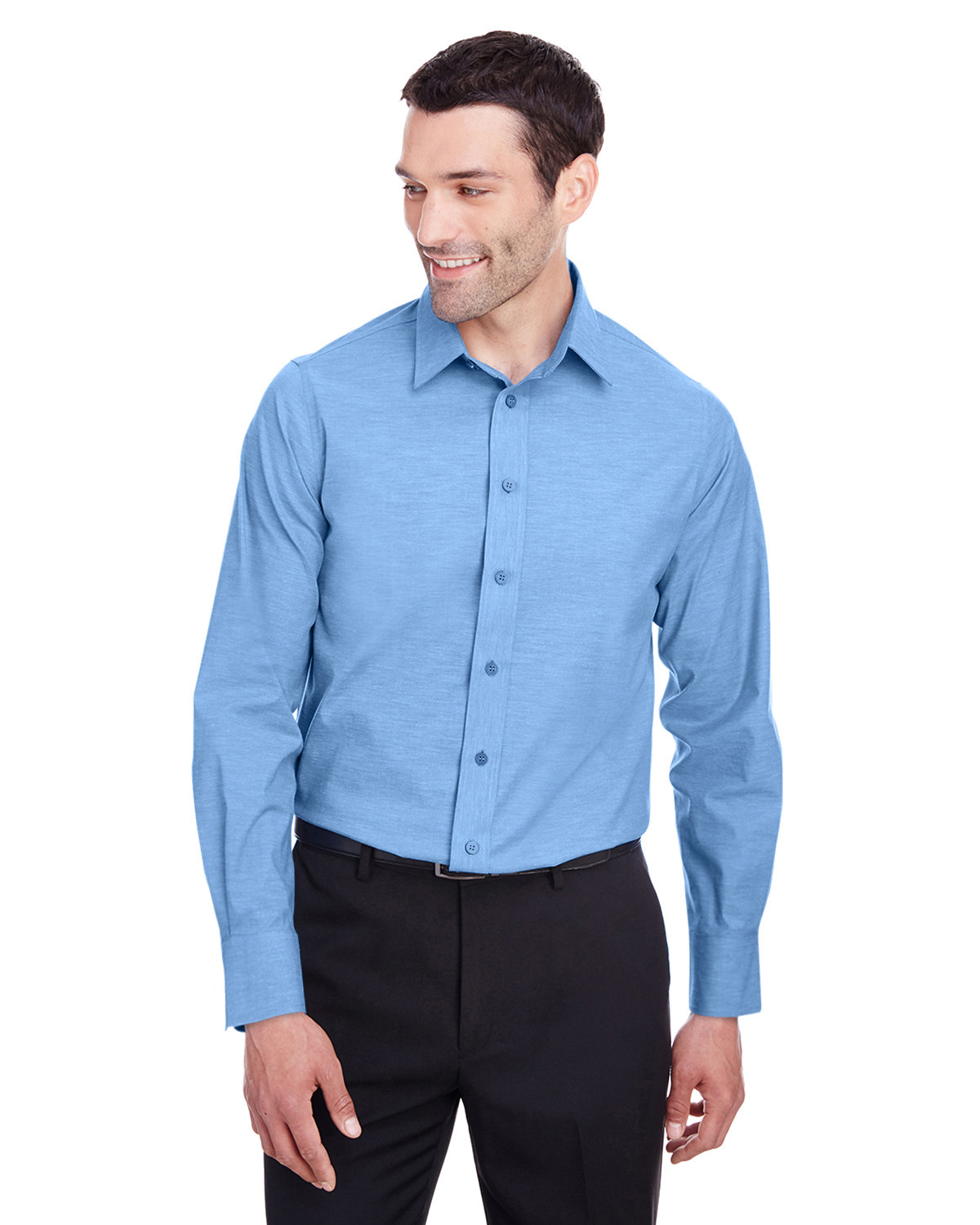 Devon & Jones Men's Crown  Collection® Stretch Pinpoint Chambray Shirt FRENCH BLUE