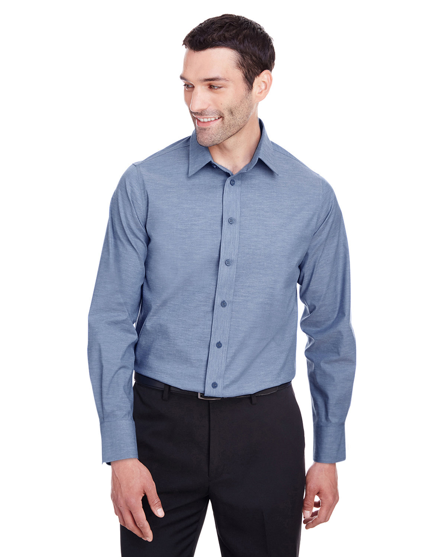 Devon & Jones Men's Crown  Collection® Stretch Pinpoint Chambray Shirt NAVY