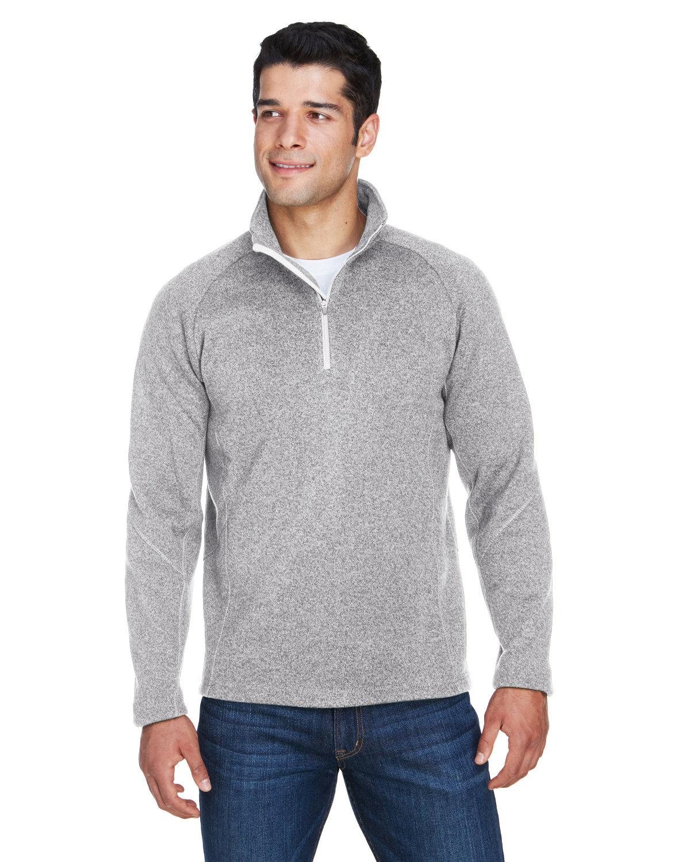 Devon & Jones Adult Bristol Sweater Fleece Quarter-Zip GREY HEATHER