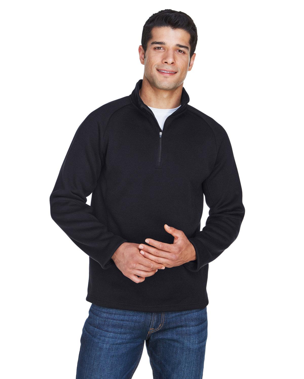 Devon & Jones Adult Bristol Sweater Fleece Quarter-Zip BLACK