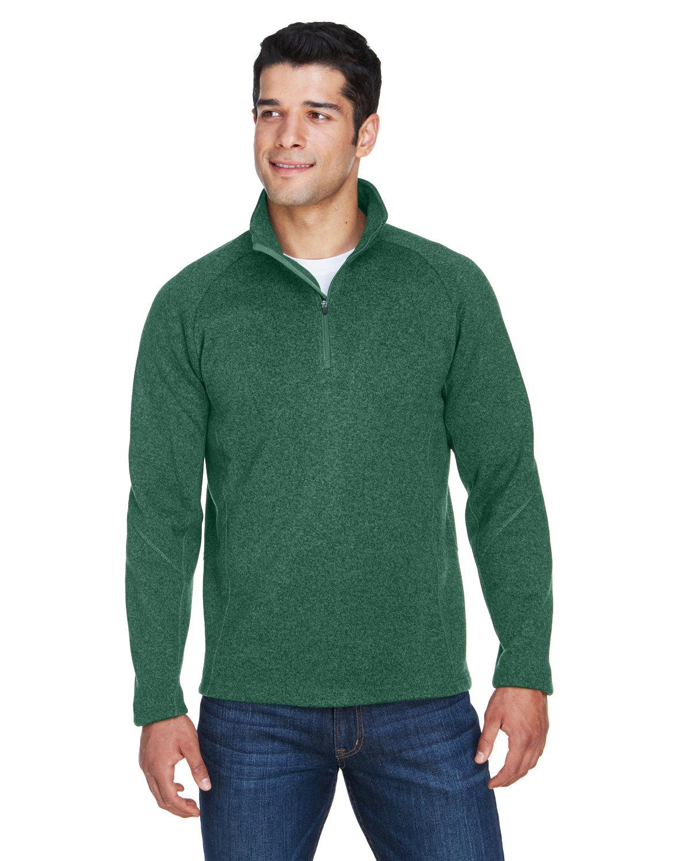 Devon & Jones Adult Bristol Sweater Fleece Quarter-Zip FOREST HEATHER