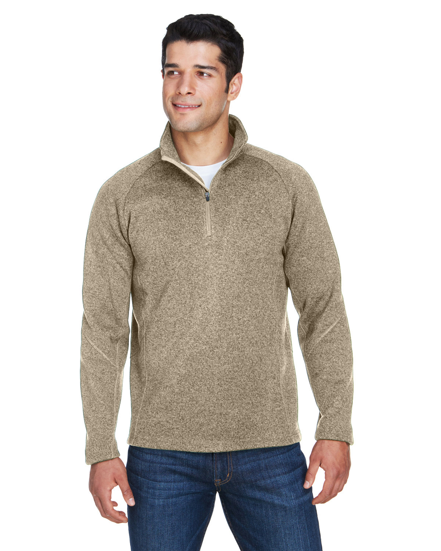 Devon & Jones Adult Bristol Sweater Fleece Quarter-Zip KHAKI HEATHER