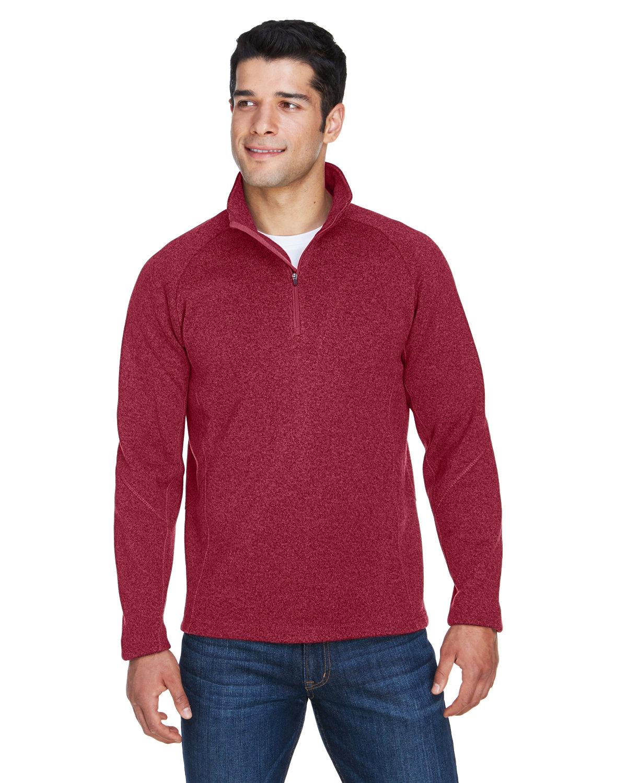 Devon & Jones Adult Bristol Sweater Fleece Quarter-Zip RED HEATHER