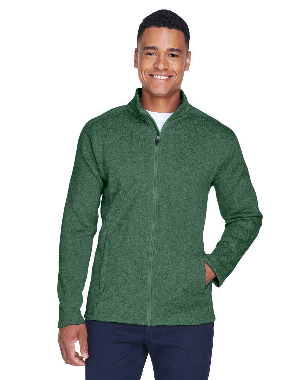 Devon & Jones Men's Bristol Full-Zip Sweater Fleece Jacket FOREST HEATHER