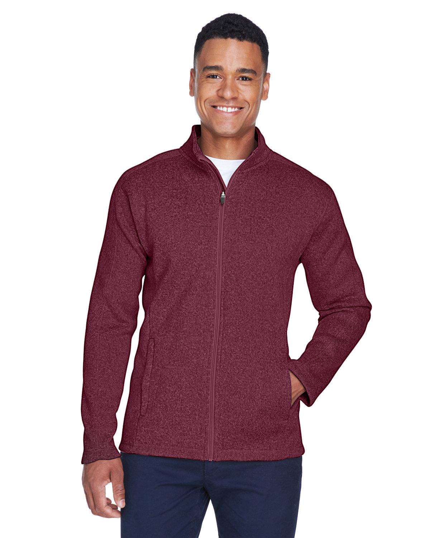 Devon & Jones Men's Bristol Full-Zip Sweater Fleece Jacket BURGUNDY HEATHER