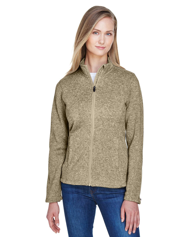 Devon & Jones Ladies' Bristol Full-Zip Sweater Fleece Jacket KHAKI HEATHER