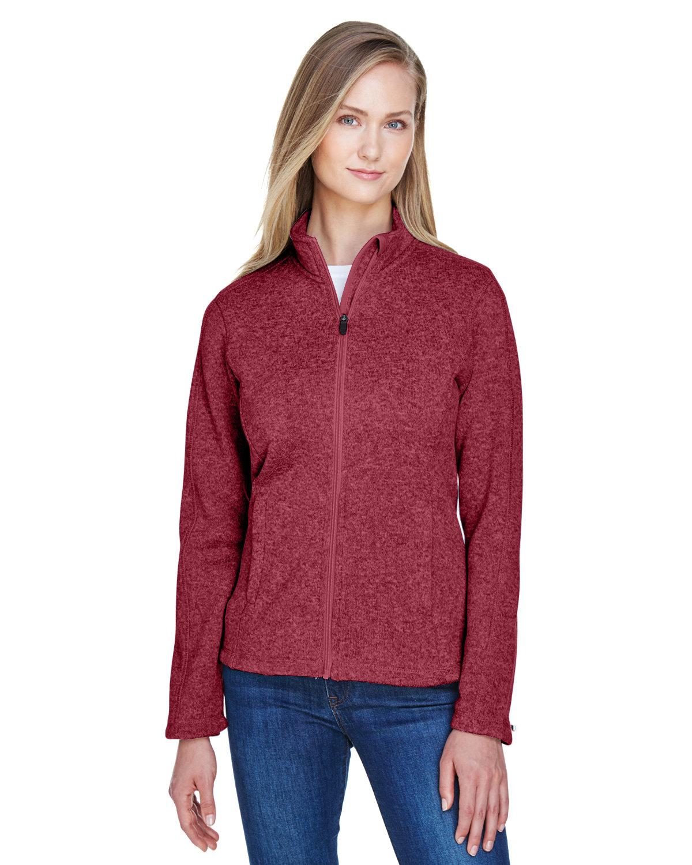 Devon & Jones Ladies' Bristol Full-Zip Sweater Fleece Jacket RED HEATHER