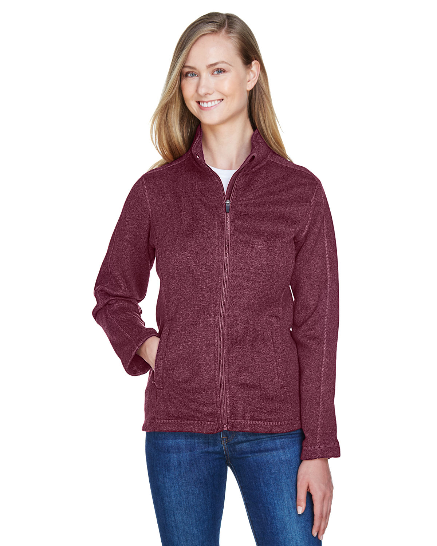 Devon & Jones Ladies' Bristol Full-Zip Sweater Fleece Jacket BURGUNDY HEATHER