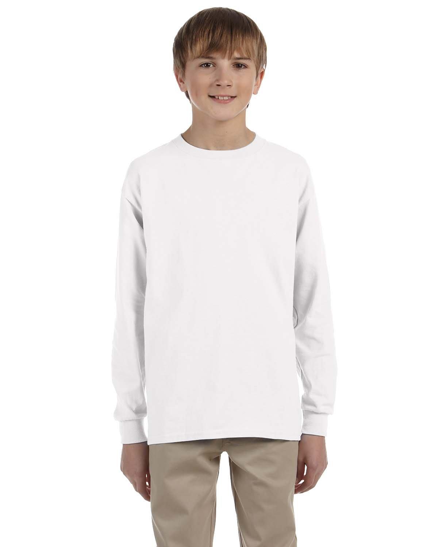Gildan Youth Ultra Cotton®  Long-Sleeve T-Shirt WHITE