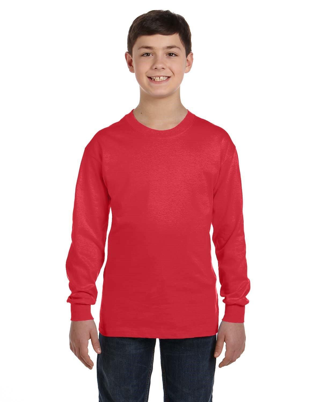 Gildan Youth Heavy Cotton™ Long-Sleeve T-Shirt RED