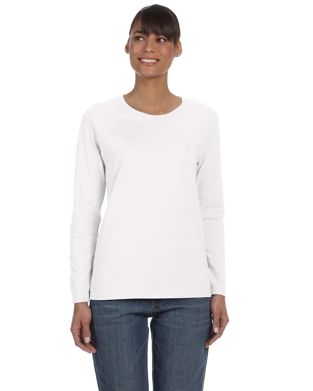 Gildan Ladies' Heavy Cotton™ Long-Sleeve T-Shirt WHITE