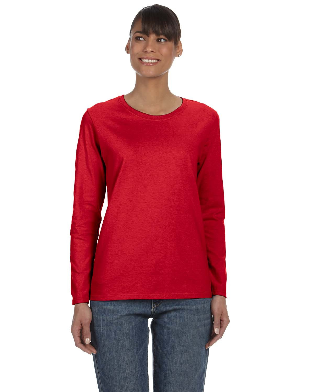 Gildan Ladies' Heavy Cotton™ Long-Sleeve T-Shirt RED